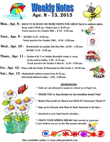 weekly notes, Apr. 8-13, 2013.pdf - St. Lucy Catholic Parish School