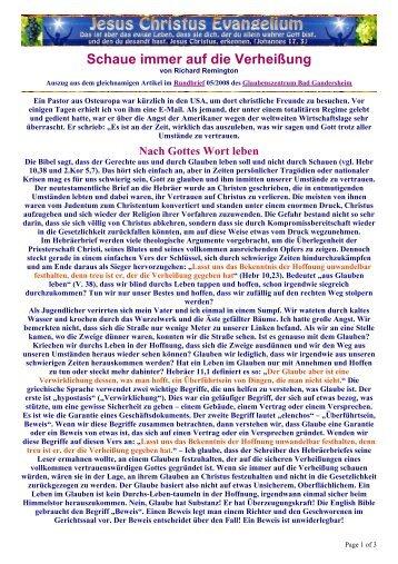 Schaue immer auf die Verheißung - Jesus Christus Evangeliumdienst
