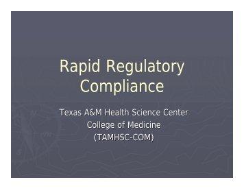 Rapid Regulatory Compliance - Healthcare Professionals