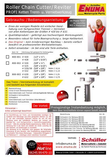 Roller Chain Cutter/Reviter PROFI - Enuma