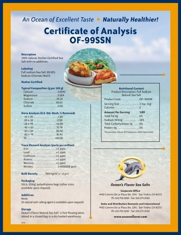 Certificate of Analysis OF-99SSN