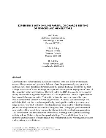 epri 93 - experience with on-line partial discharge testing of motors ...