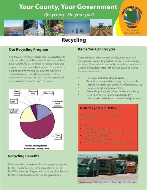 Santa Rosa Recycling Center >> Fact Sheet 9 Recycling Santa Rosa County