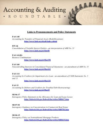 Links to Pronouncements and Policy Statements