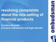 complaints involving mis-sold financial products