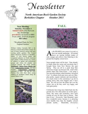 North American Rock Garden Society Berkshire Chapter October 2011