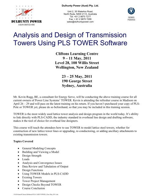 Analysis and Design of Transmission Towers Using PLS TOWER