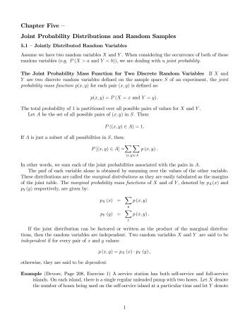Chapter Five – Joint Probability Distributions and Random Samples
