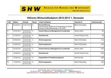 Höheres Wirtschaftsdiplom 2012-2013 1. Semester - SHW