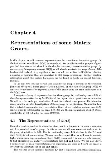 Representations of somes matrix groups