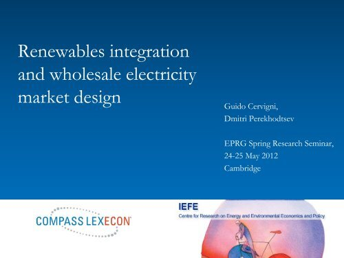 Renewables and power prices - Electricity Policy Research Group