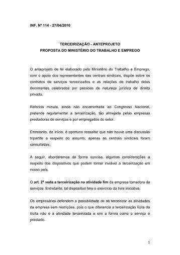 27/04/2010 Terceirização - Anteprojeto - Fecomercio