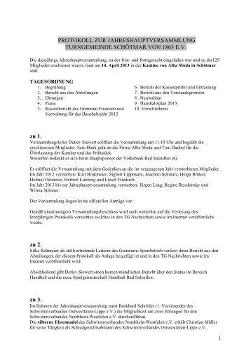 Protokoll der JHV 2013 - Turngemeinde Schötmar von 1863 e.V.