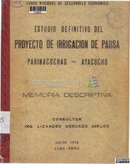 Estudio definitivo del proyecto de irrigación de Pauza, Parinacochas