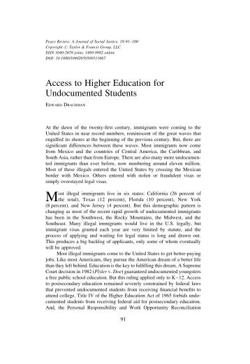 (2006). Access to Higher Education for Undocumented Students ...