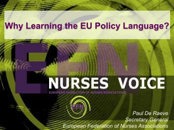 Why Learning the EU Policy Language? - EFN – European ...