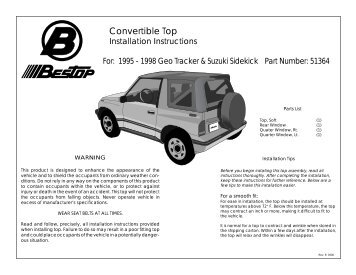 convertible top installation instructions
