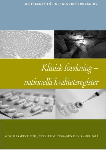 Klinisk forskning – nationella kvalitetsregister