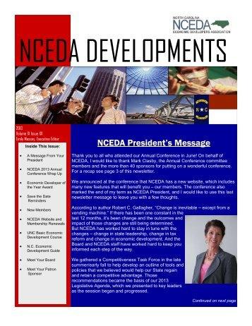 June 2013 Newsletter - North Carolina Economic Developers ...