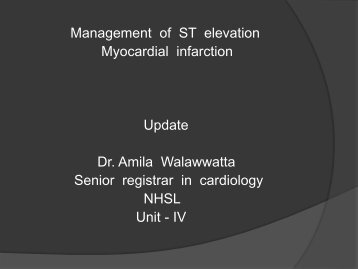 Management of ST elevation myocardial infarction