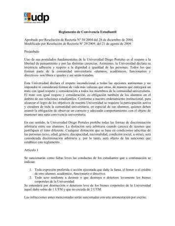 Reglamento de Convivencia Estudiantil - Universidad Diego Portales