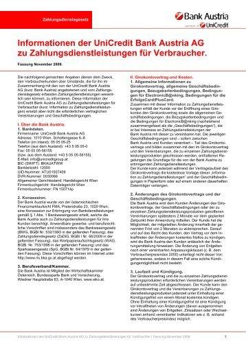 Informationen der Unicredit Bank Austria AG zu ...