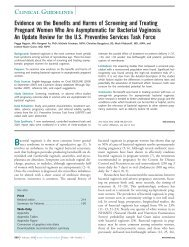 Evidence on the Benefits and Harms of Screening - US Preventive ...