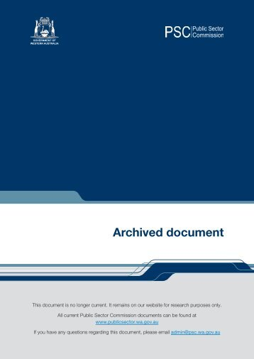 Archived document - Public Sector Commission - The Western ...