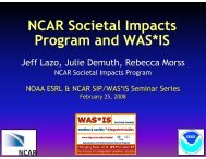 NCAR Societal Impacts Program and W AS*IS