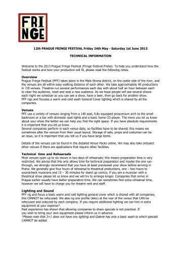 technical information - Prague Fringe Festival