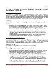 Profiles of Selected Winners for SingHealth Academy Duke-NUS ...