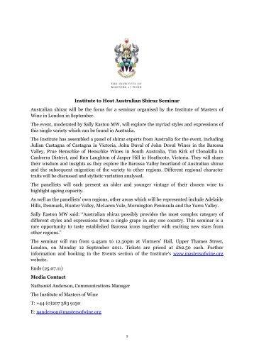 Institute to Host Australian Shiraz Seminar Australian shiraz will be ...