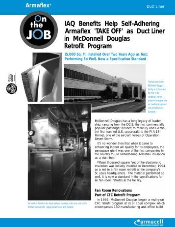 as Duct Liner in McDonnell Douglas Retrofit Program - Armacell
