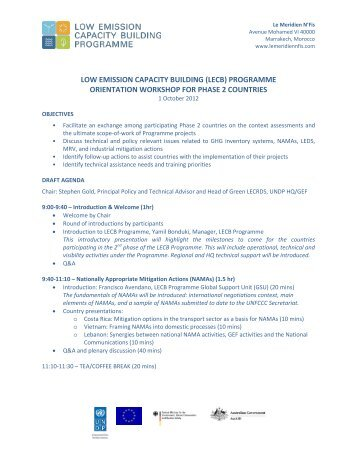 (lecb) programme orientation workshop for phase 2 countries