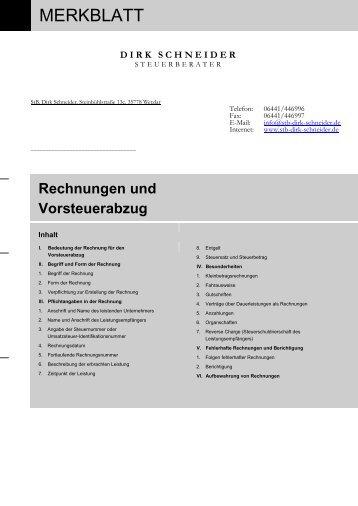 Rechnungen Und Vorsteuerabzugpdf Steuerberater Matthias Graf