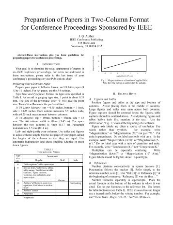 ieee format for paper presentation example Templates and sample of pes technical papers part 4 of the author's kit has four components: 1 part 4 web pages 2 sample conference and transactions/journal papers in pdf, with formatting instructions as the content.