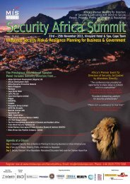 Security Africa Summit 23rd – 25th November 2011 - MIS Training