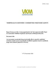 NORWEGIAN SCIENTIFIC COMMITTEE FOR FOOD SAFETY
