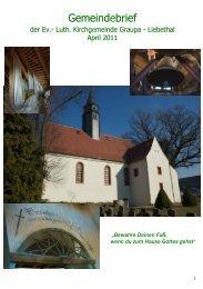 100 Jahre Kirche Graupa - Ev.-Luth. Kirchgemeinde Graupa-Liebethal