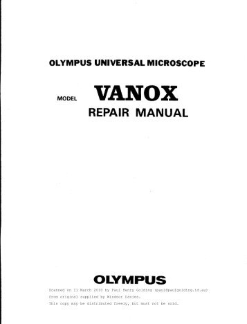 Olympus BH-2 (BHS) Research Microscope Repair Manual