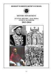 History AS: H106 - Bishop Wordsworth's School