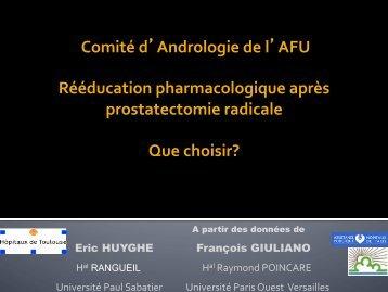 Rééducation pharmacologique après prostatectomie ... - Toulandro