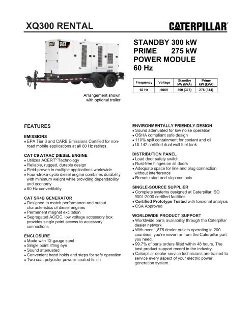 300ekW at 600V: XQ300 Rental Genset Spec Sheet - Toromont CAT
