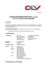 TEAM-EUROPAMEISTERSCHAFT, 2. Liga 18./19. Juni 2011, Novi ...