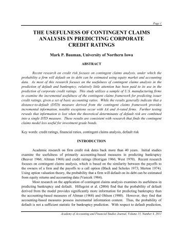 the usefulness of contingent claims analysis in ... - Allied Academies