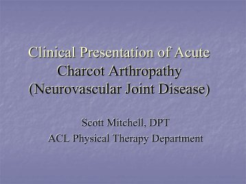 Acute Clinical Presentation of Charcot Arthropathy