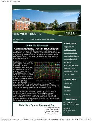 The View From PR - August 2011 - Lake Erie College