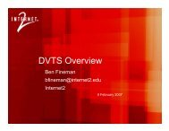 DVTS Overview - Events - Internet2