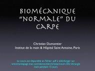 Biomecanique normale du carpe Ch. Dumontier - ClubOrtho.fr