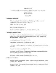 Vitae - Johnson Graduate School of Management - Cornell University
